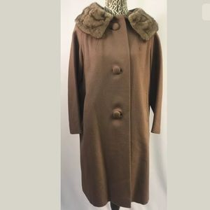 MAUVE WOOL Vtg Mink Fur Collar Coat Paris France